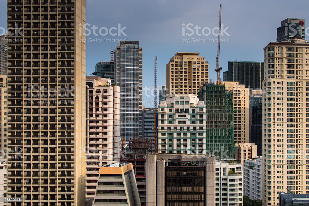 Makati Skyscrapers in Rows and Columns stock photo