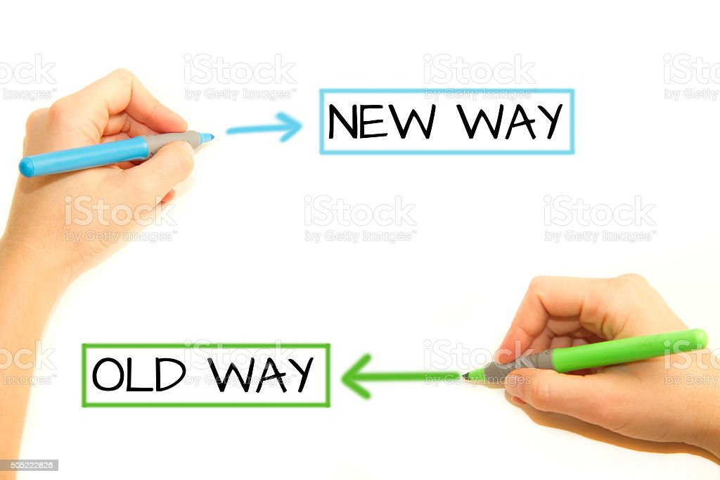Make a decision, old way or new way stock photo
