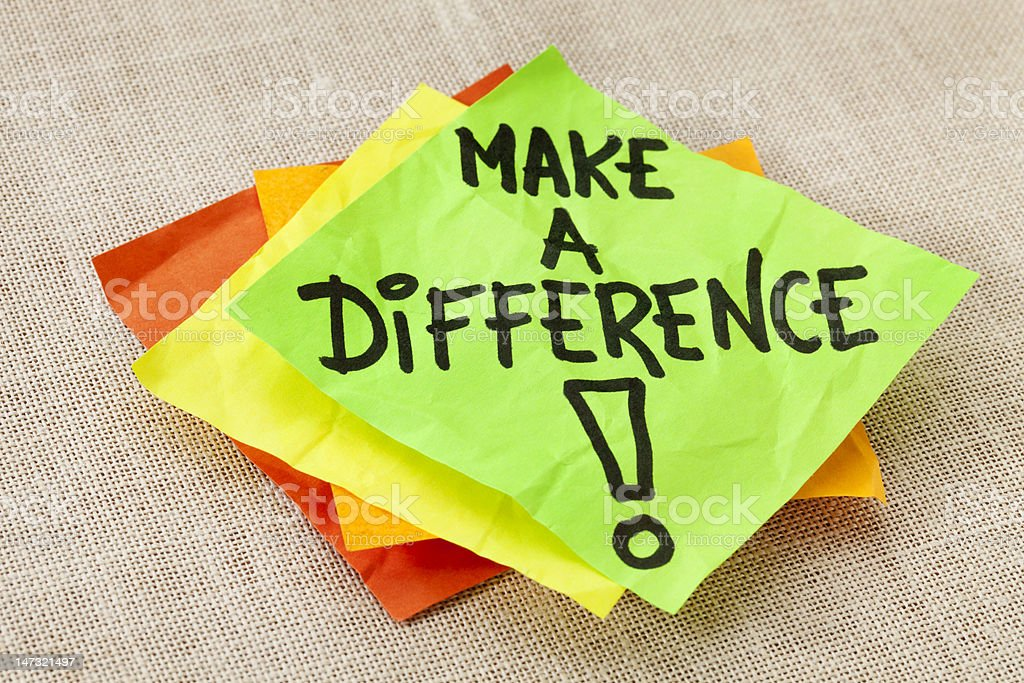 Make a difference reminder stock photo