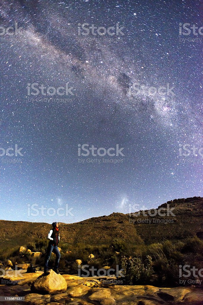 Female looking up at the milky way