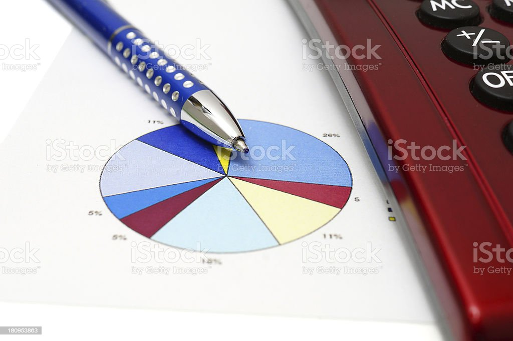 make business concept with pen, calculator,graph royalty-free stock photo