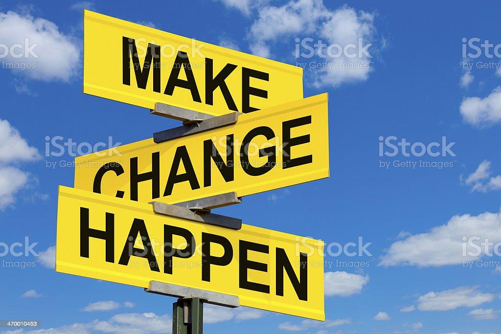 Make Change Happen Street Sign stock photo