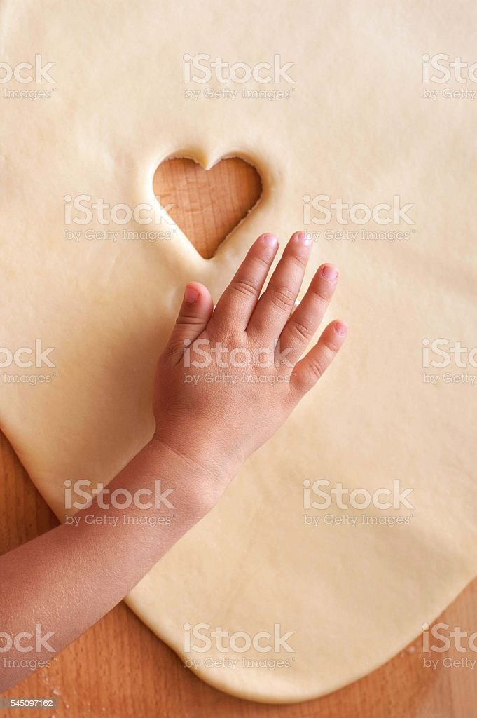 Make cookie in the shape of heart stock photo