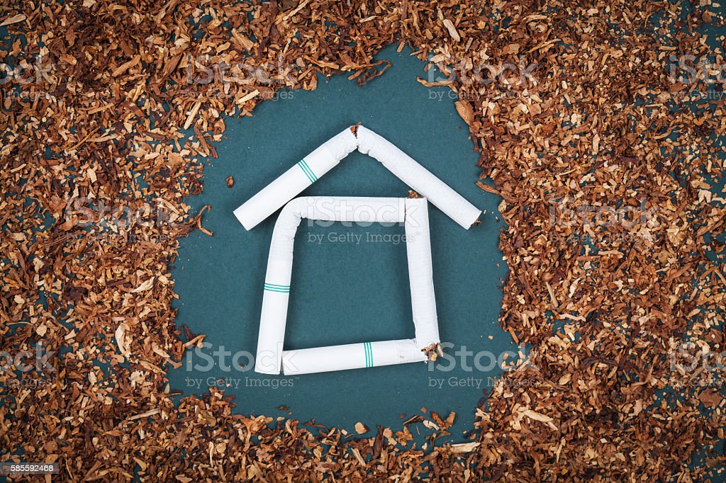 Make home from cigarettes and tobacco on blackboard. stock photo