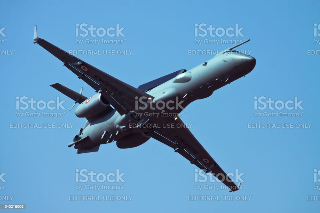 Make in India Awacs fly pass stock photo