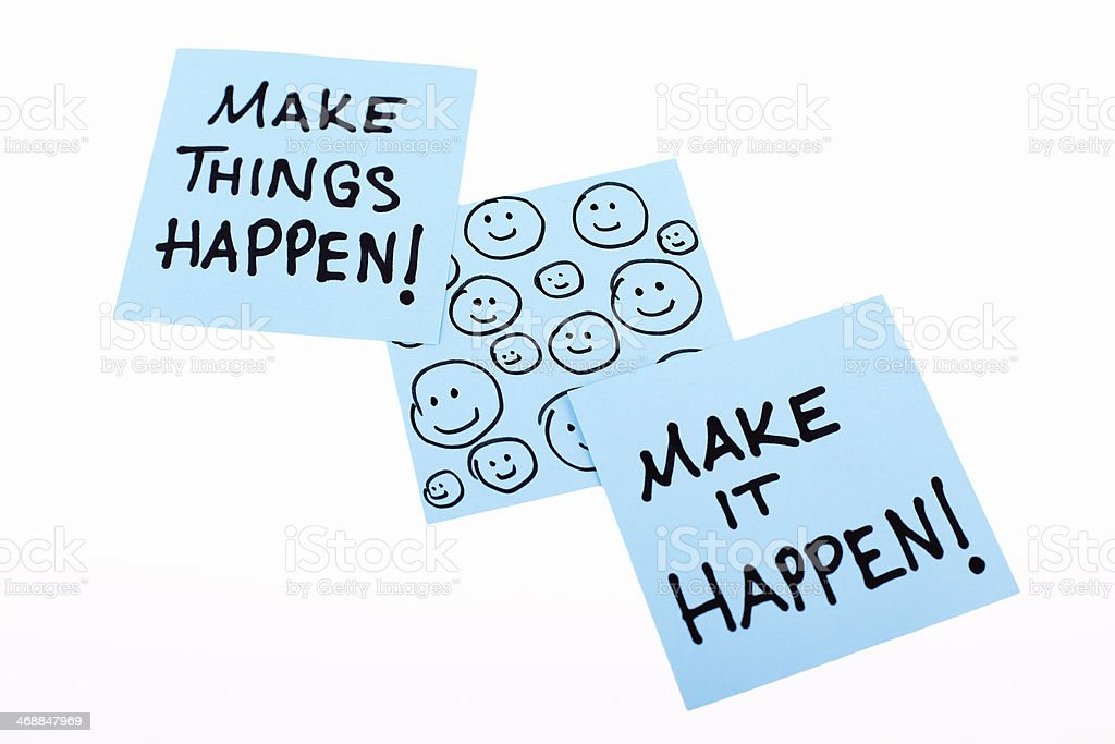 Make it Happen / Make Things Happen Notes stock photo