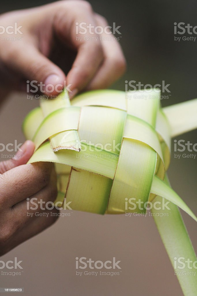 Make Ketupat royalty-free stock photo
