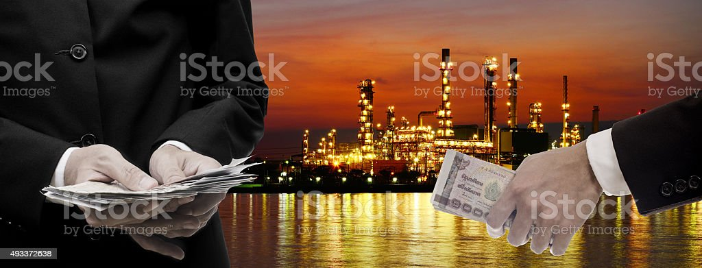 Make money from oil refinery business concept stock photo