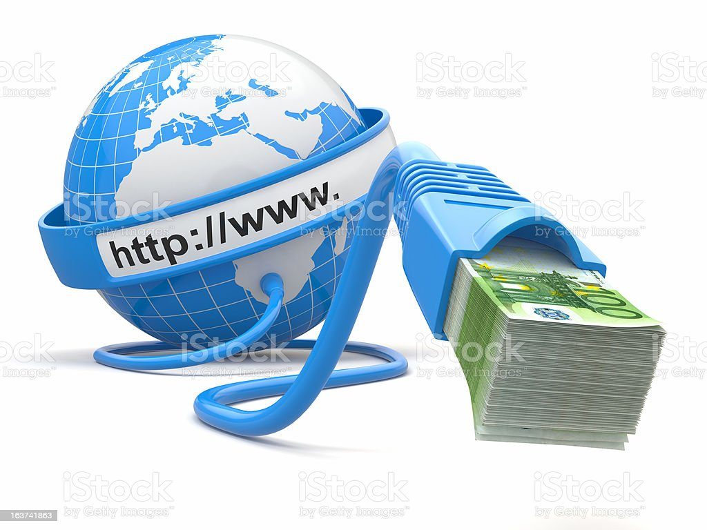 Make money online. Concept. Earth and internet cable with money. royalty-free stock photo