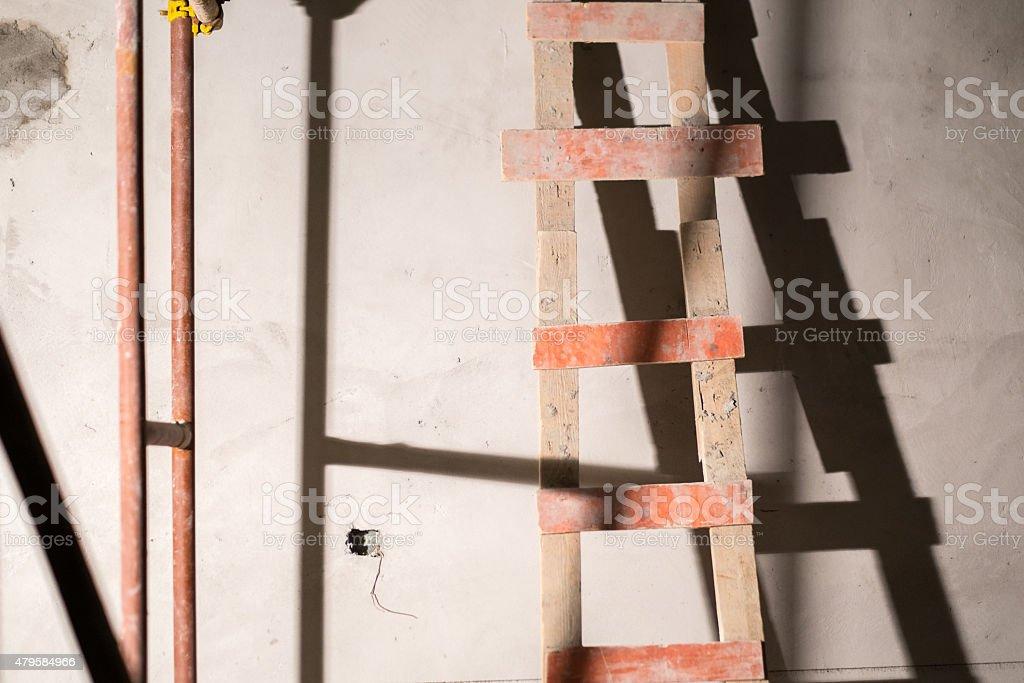 Make Shift Ladder Construction Site stock photo