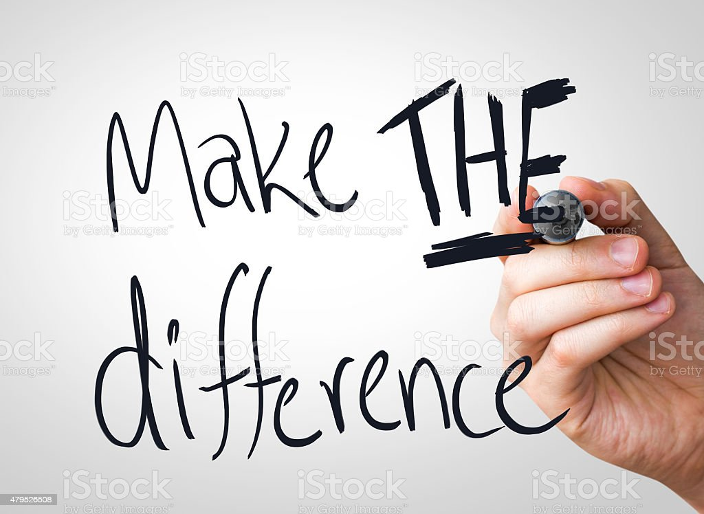 Make the difference written on the Wipe board stock photo