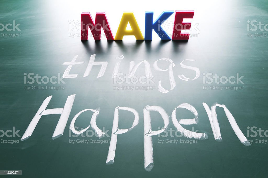 Make things happen, concept words royalty-free stock photo