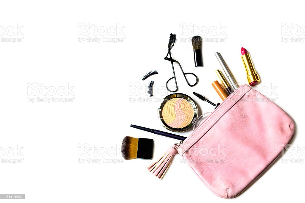 make up bag with cosmetics isolated stock photo