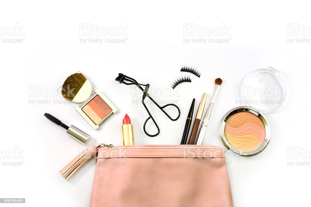 make up bag with cosmetics stock photo