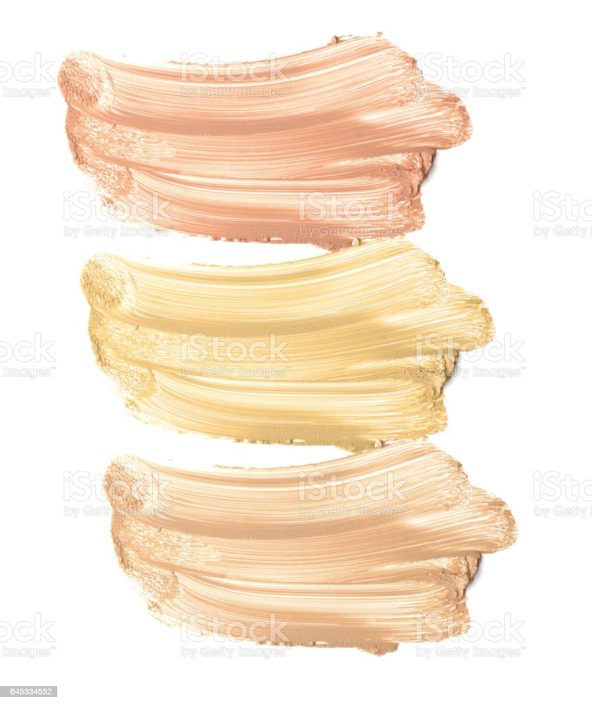 Make up beige foundation collection shade isolate on white. stock photo