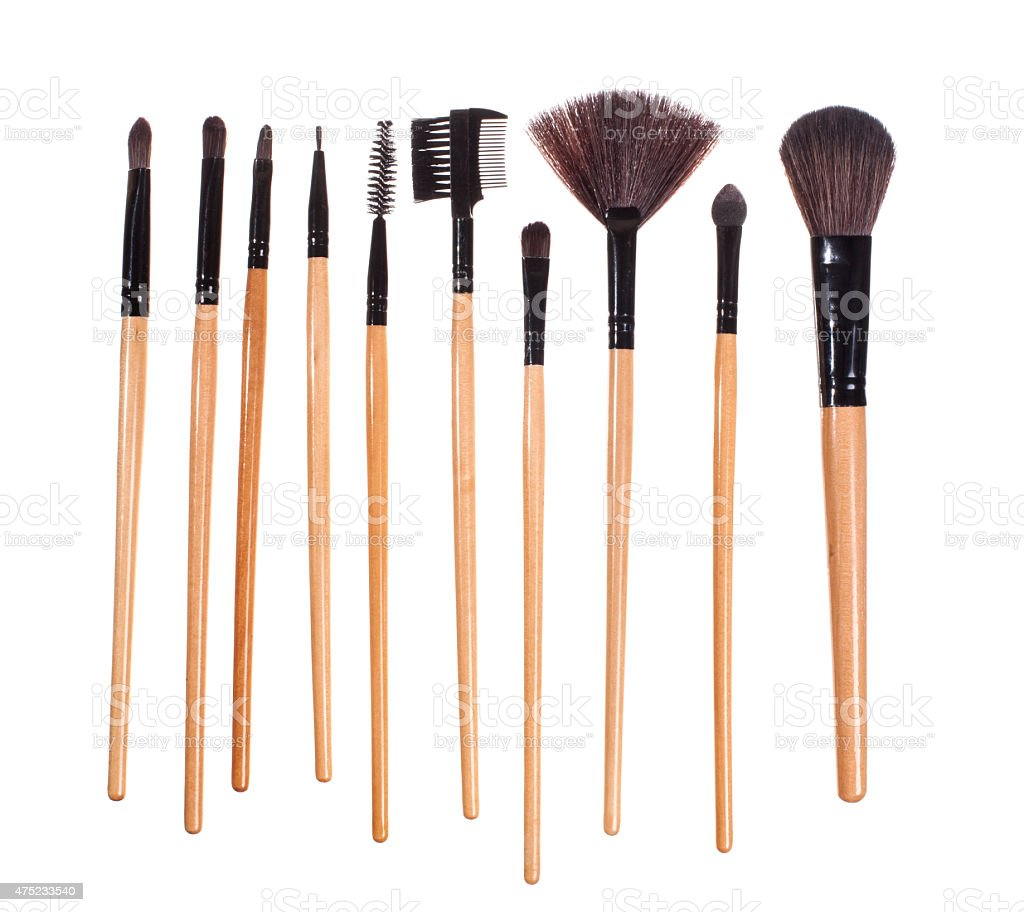 Make up brushes, isolated on white - Stock image stock photo