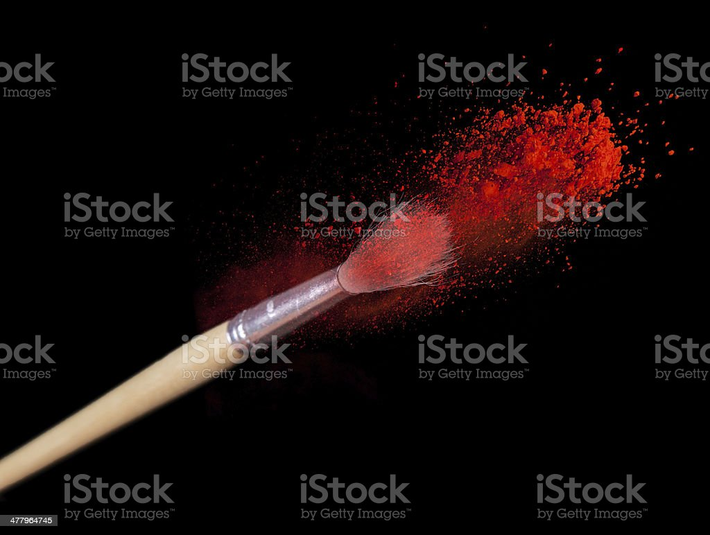 Make up brushes with powder stock photo