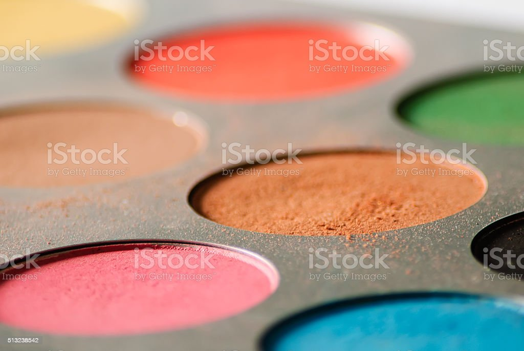 Make up colorful eyeshadow palette - low angle stock photo