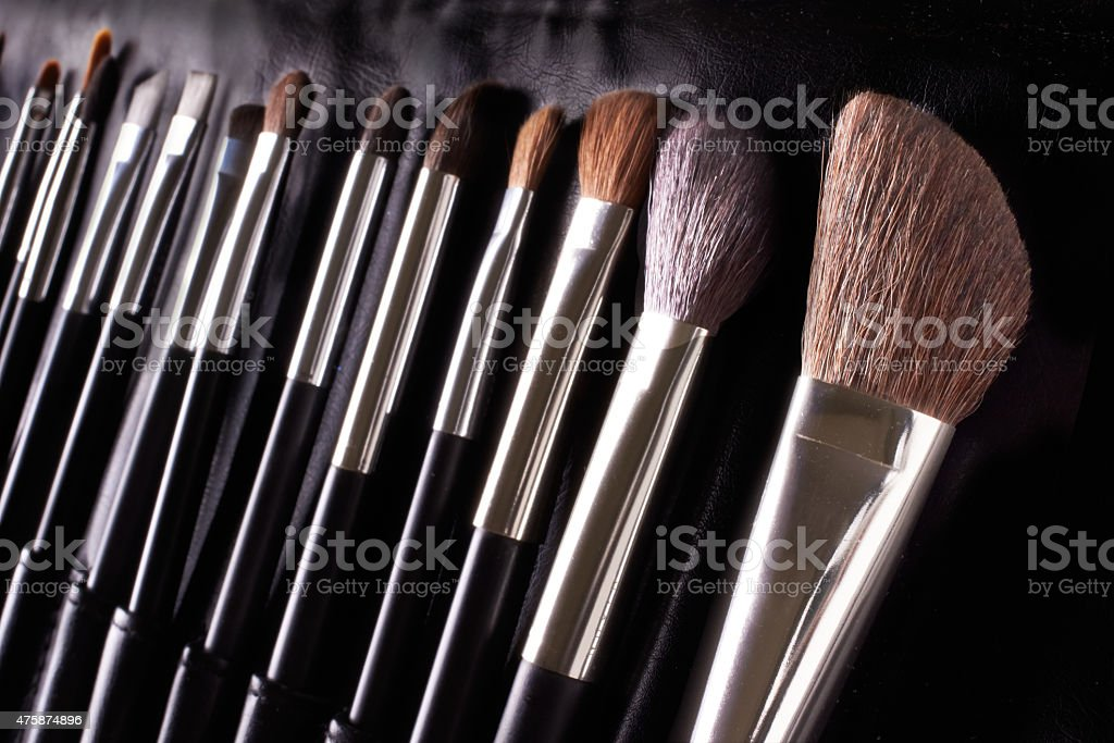 Make up. Cosmetics. A professional set of eye-shadow powder blushes. stock photo