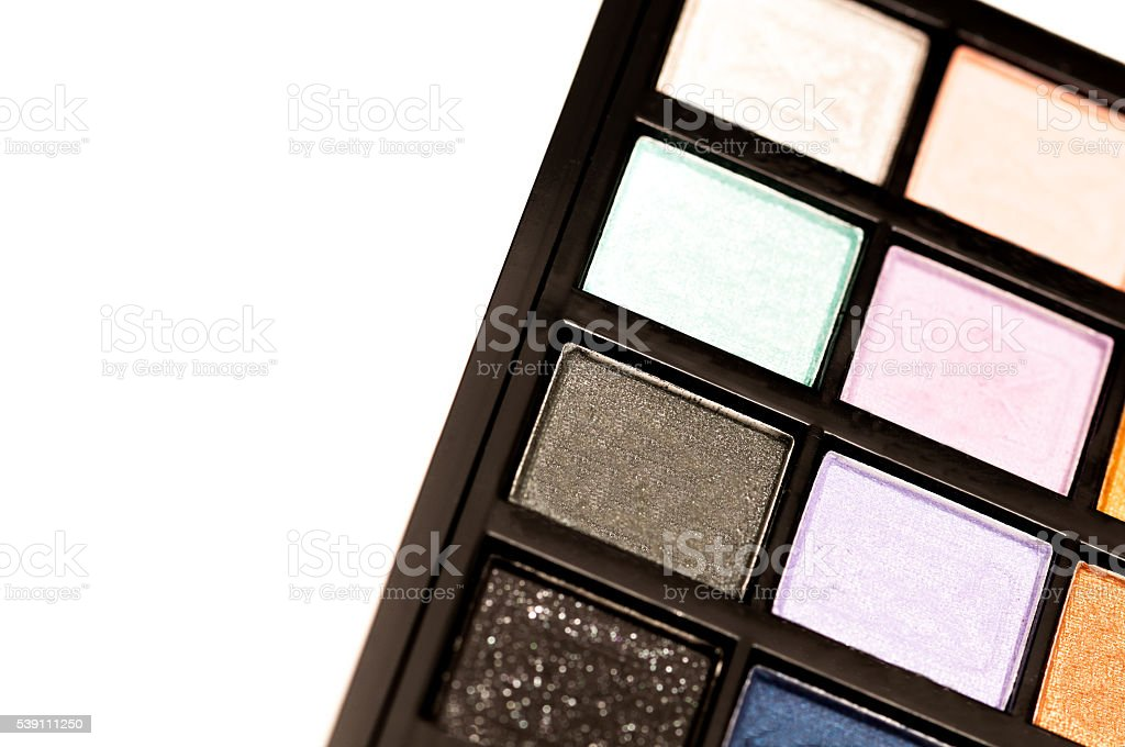 Make up. Cosmetics. Eye-shadow palette with blushes. stock photo