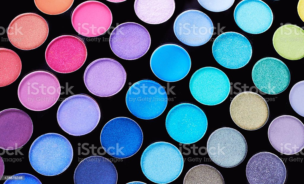 Make up. Cosmetics. Eye-shadow pallete with blushes. stock photo