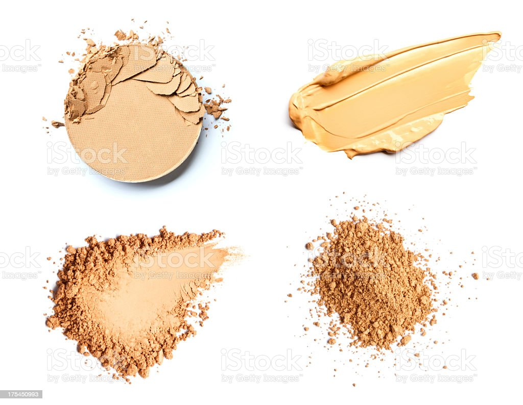 Make up foundation and powder smears stock photo