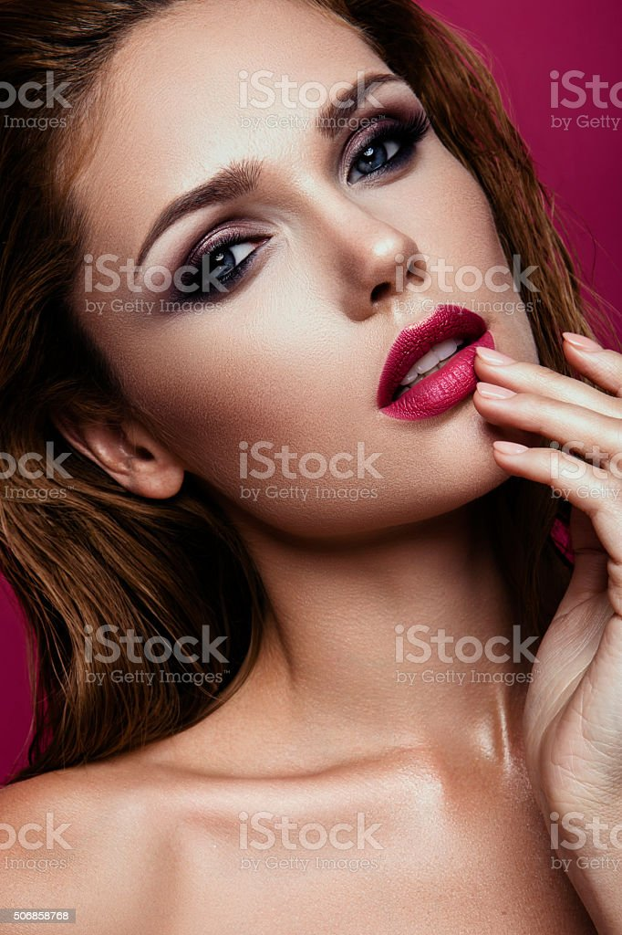 Make up. Glamour portrait of beautiful woman model with fresh stock photo