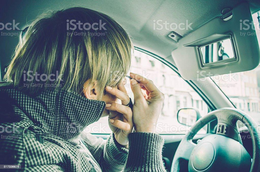 Make up in the car, Gorizia Italy stock photo