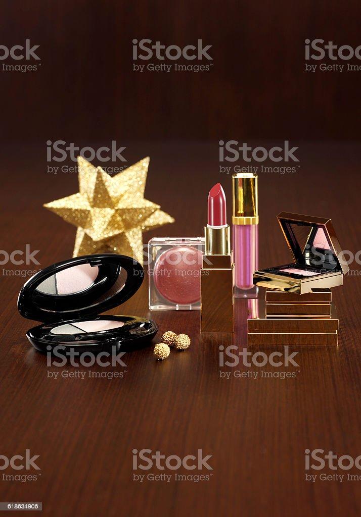 Make Up Kit for christmas present stock photo