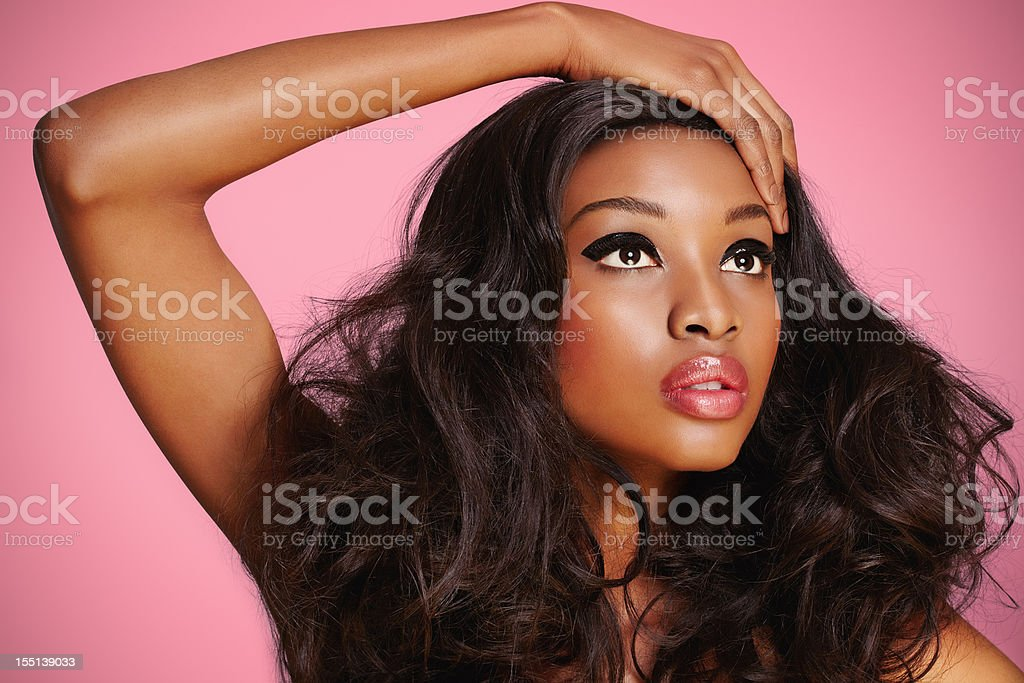 Make Up Model On Pink stock photo
