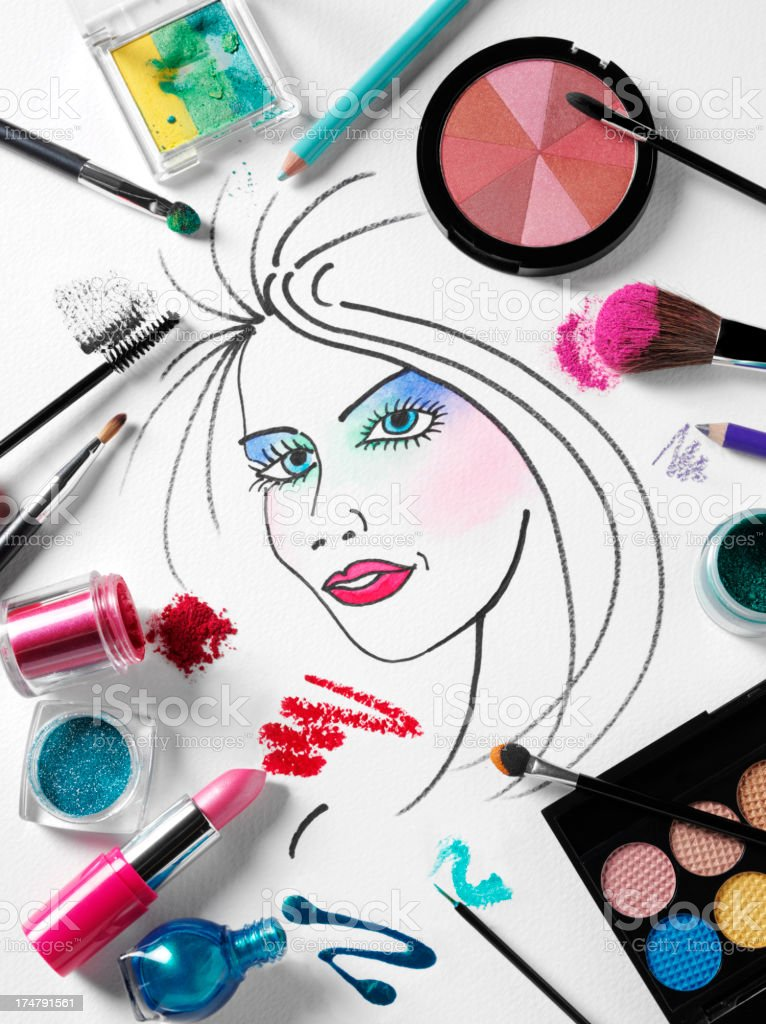 Make Up on a Ladies Face royalty-free stock photo