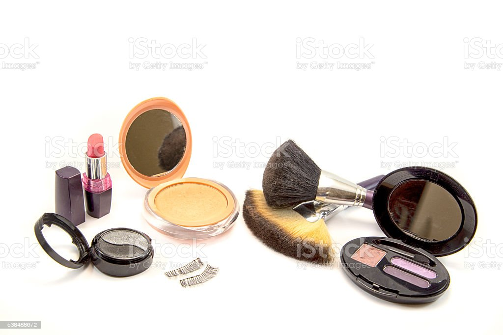 make up powder and a brushes on white background stock photo