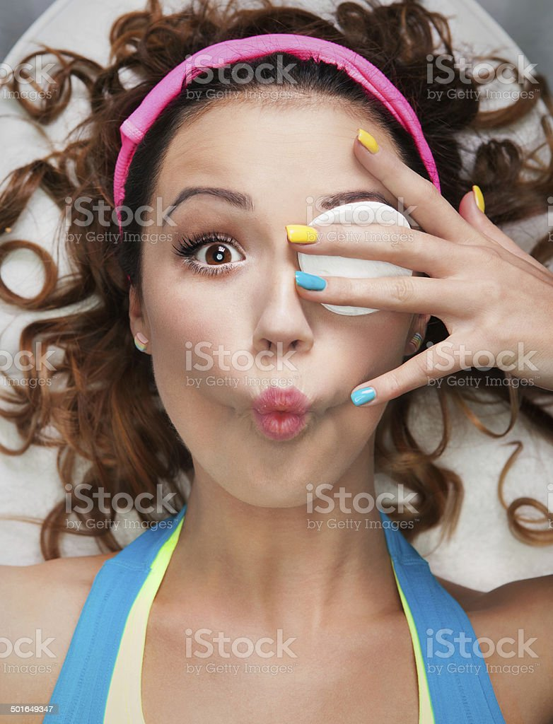 Make up removal concept stock photo