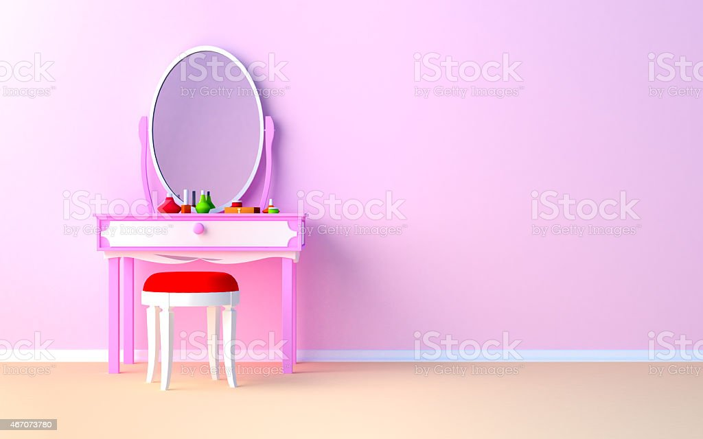 make up table at the wall stock photo