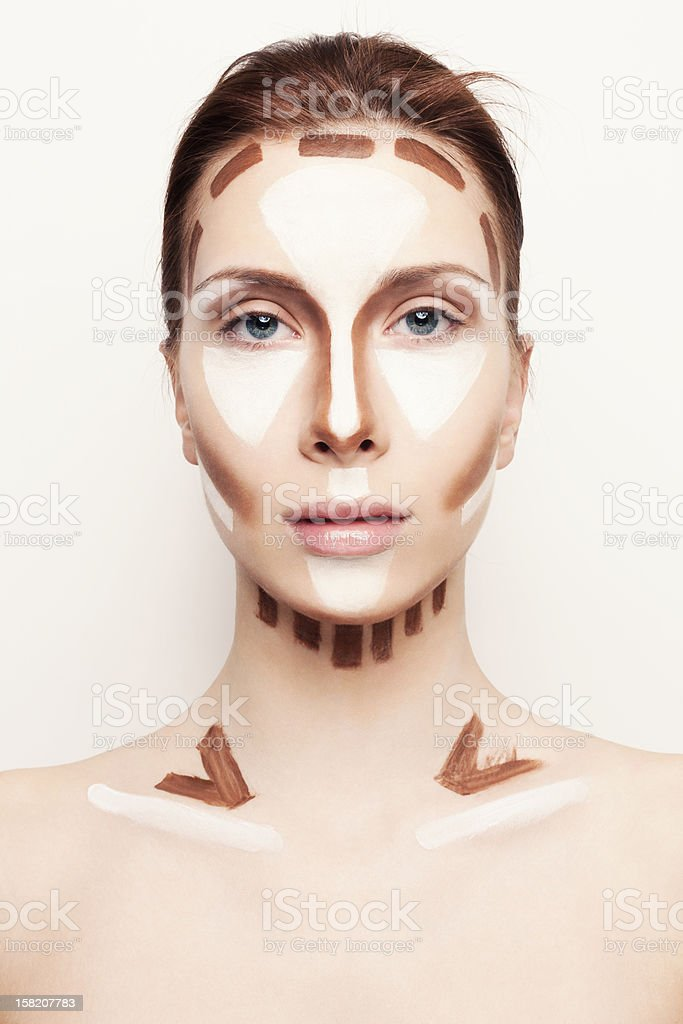 Make up tutorial how to shade the face stock photo