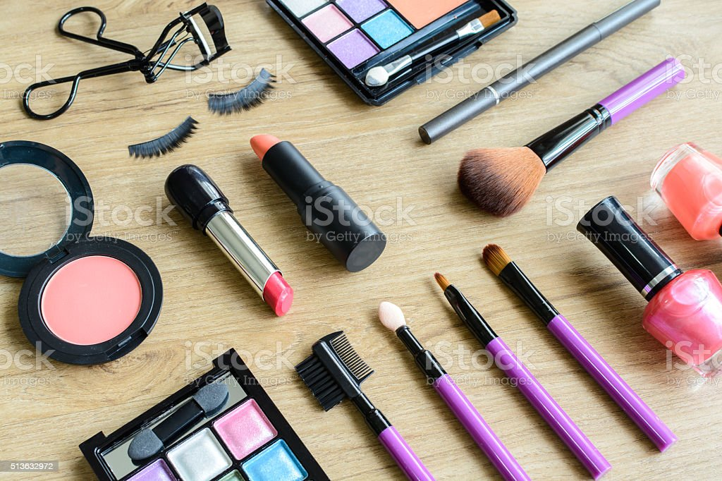 make up with cosmetics and brushes stock photo