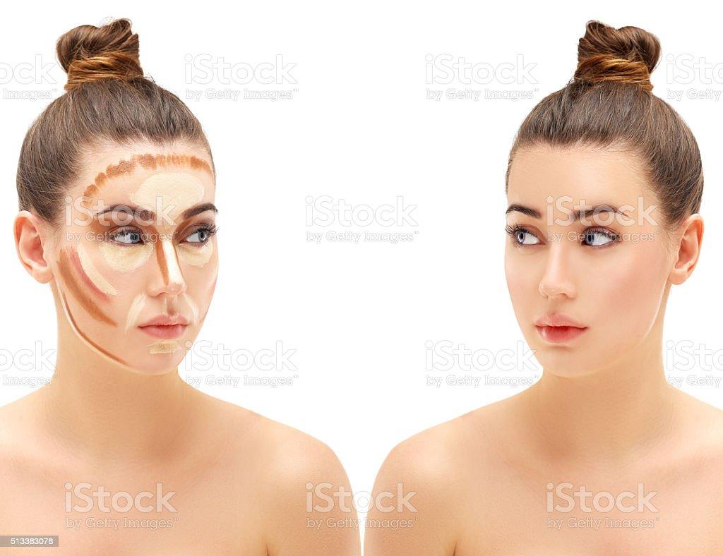 Make up woman face. Contour and highlight makeup. stock photo