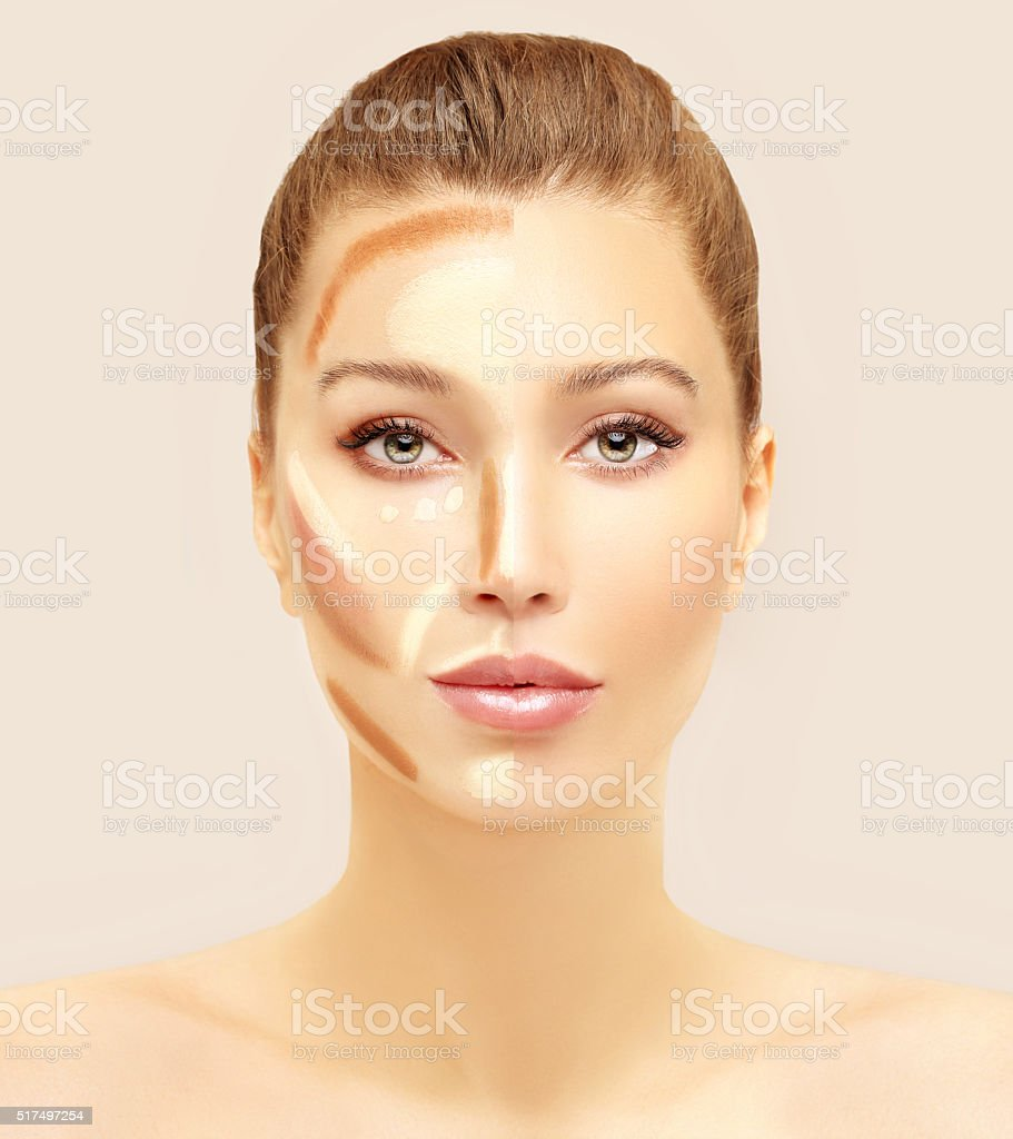 Make up woman face. Contour and highlight makeup. stock photo