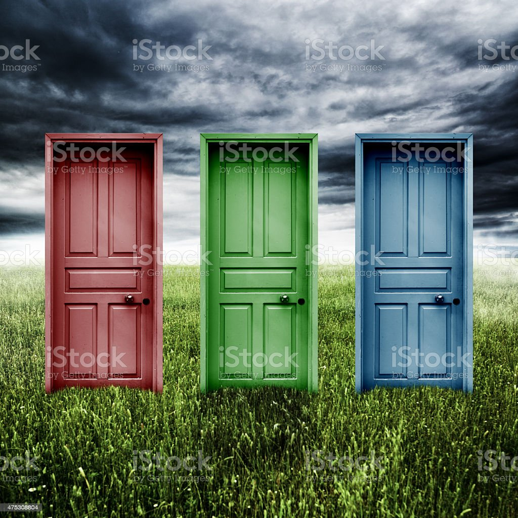 Make your choice doors in nature stock photo