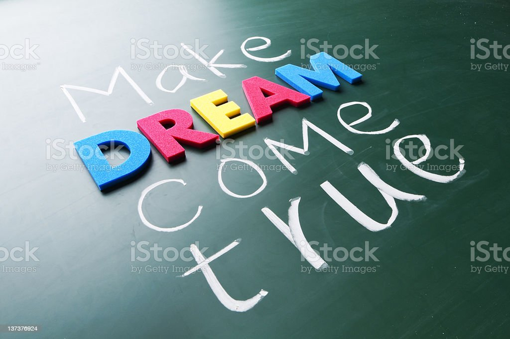 Make your dream come true in chalk on blackboard royalty-free stock photo