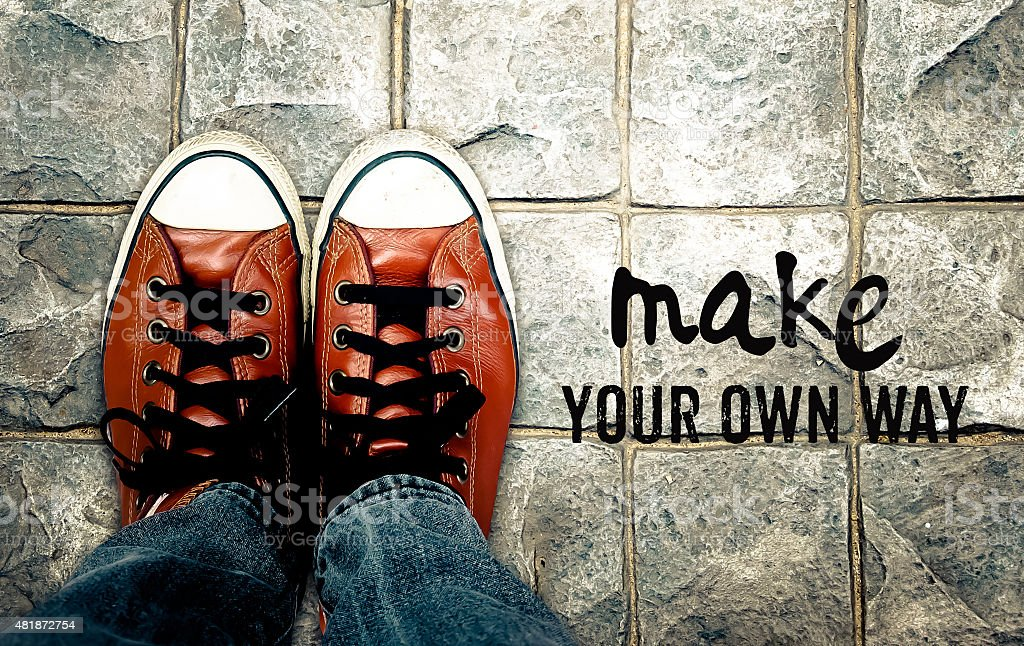 Make your own way, Inspiration quote stock photo