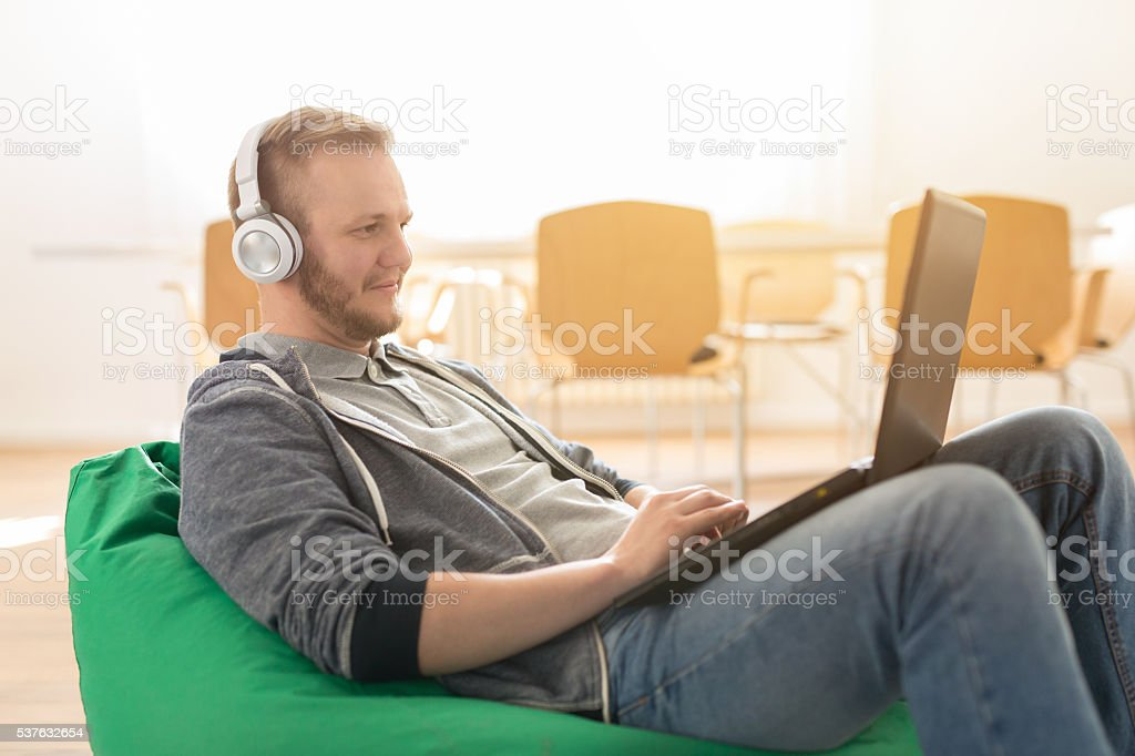 Make yourself comfortable while working stock photo