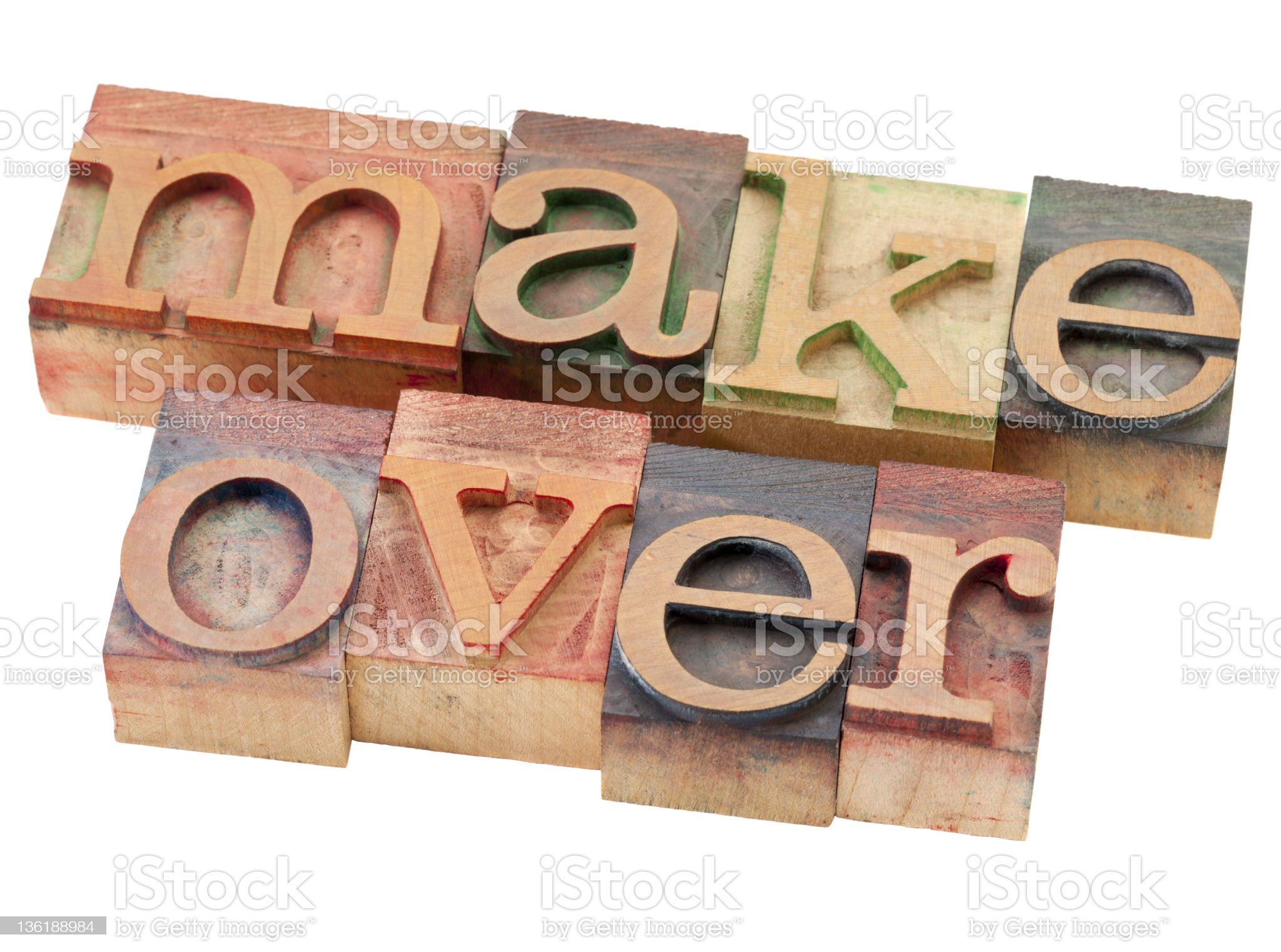makeover word in letterpress type royalty-free stock photo