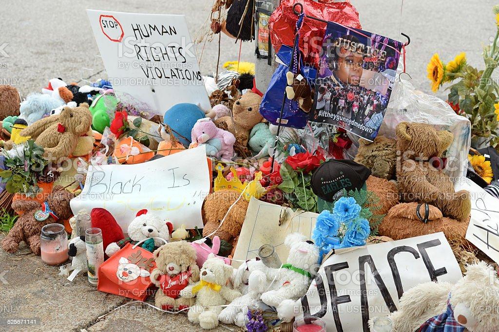 Makeshift Memorial for Michael Brown in Ferguson MO stock photo