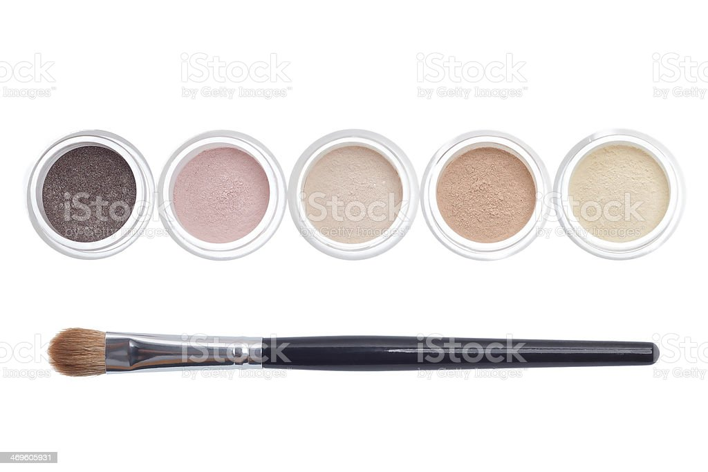 Makeup and brush isolated stock photo