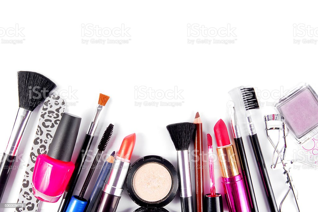 makeup and brushes cosmetic set stock photo