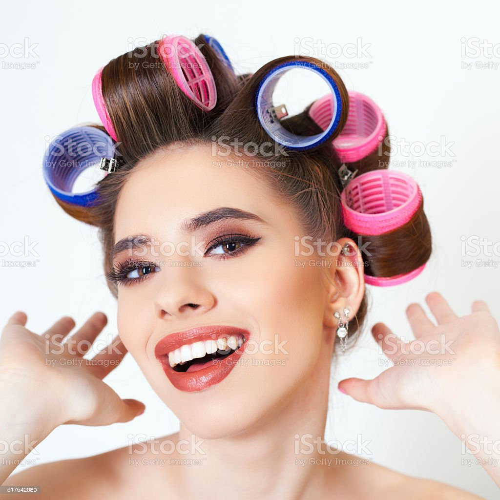 Makeup and hairstyle stock photo