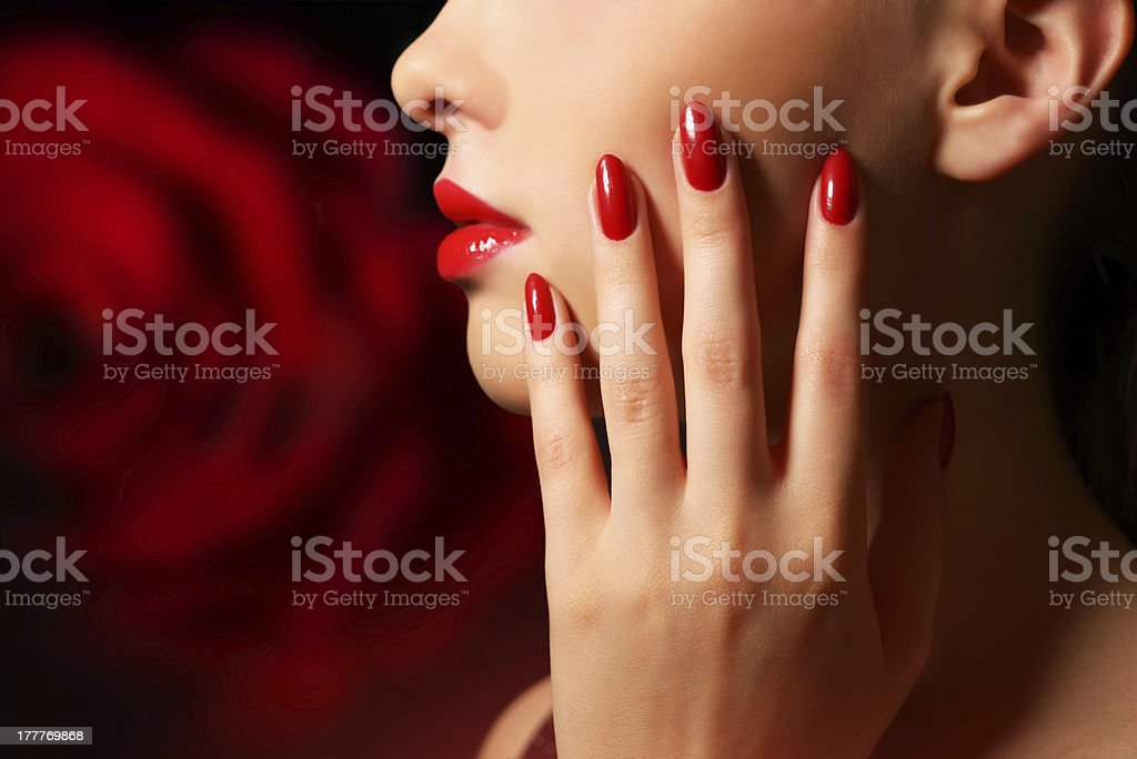 Makeup and manicure stock photo