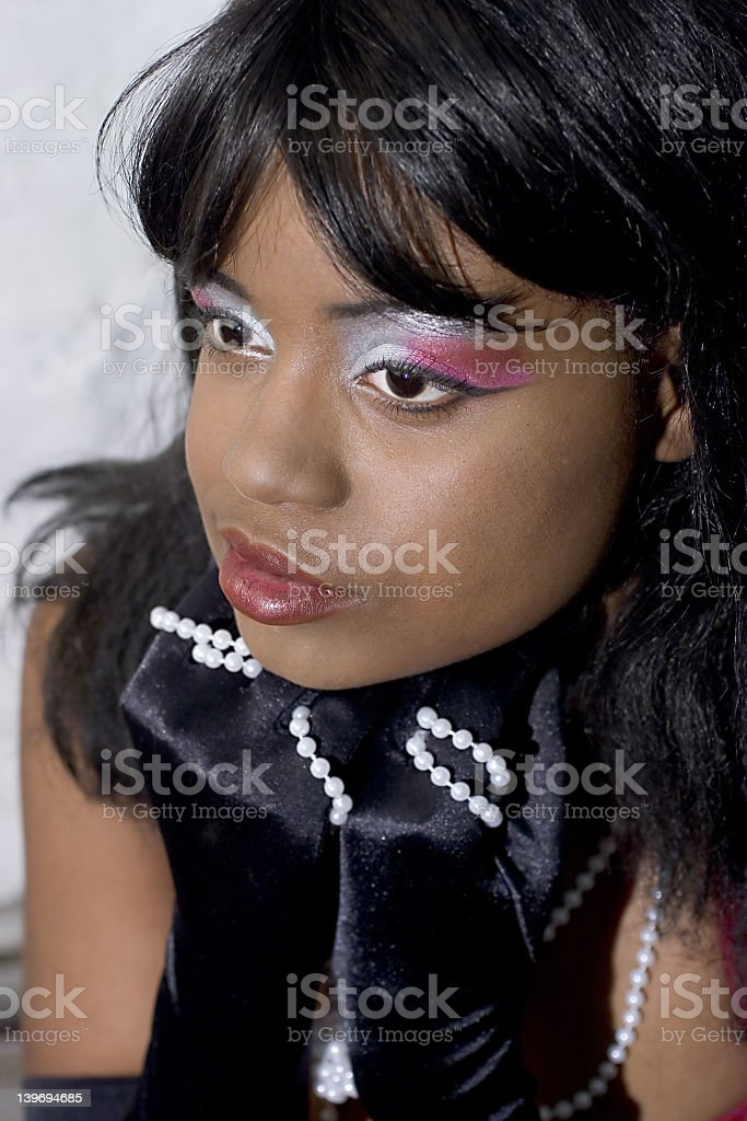 Makeup and pearls royalty-free stock photo