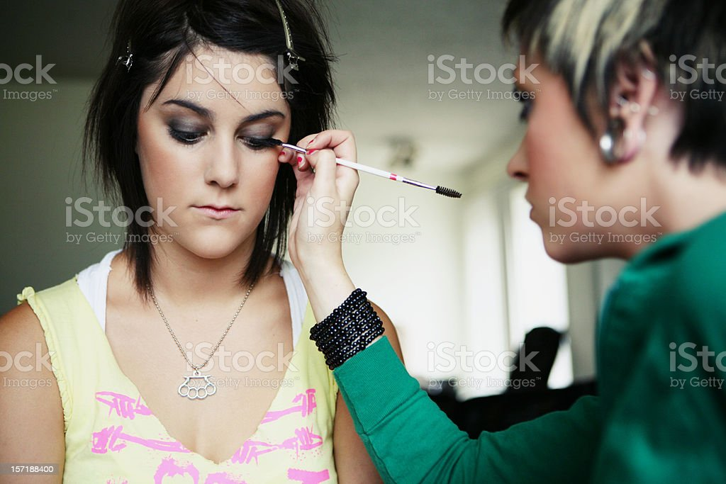 Makeup Artist and Model royalty-free stock photo